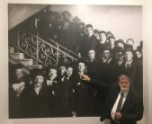 Meir Shapira, grandson of a brother of the Yeshiva founder, pointing to his cousin – Aaron Lebwol – among students on a photograph.