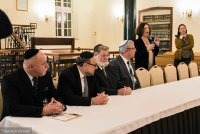 Guest speeches during opening ceremony. From the left: Lesław Piszewski, head of the Association of Jewish Communities of Poland, Chief Rabbi of Poland Michael Schudrich, Meir Shapira, grandson of the Yeshiva founder's brother, Rabbi dr Moshe Pinchuk and dr Grazyna Pawlak, head of the Foundation.